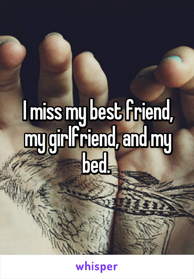 I miss my best friend, my girlfriend, and my bed.
