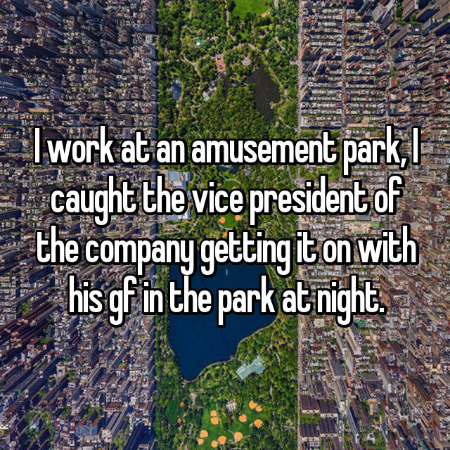 I work at an amusement park, I caught the vice president of the company getting it on with his gf in the park at night.