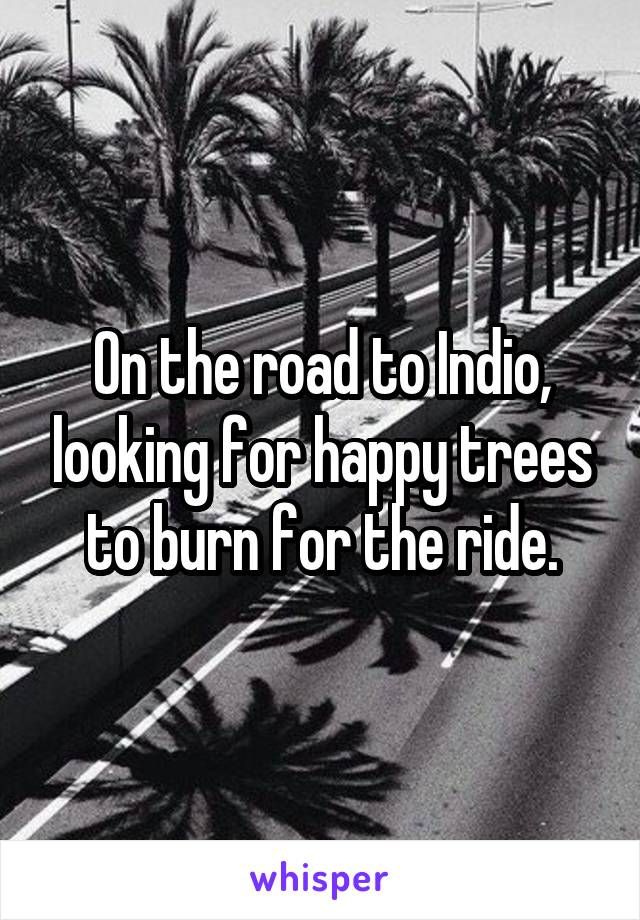 On the road to Indio, looking for happy trees to burn for the ride.