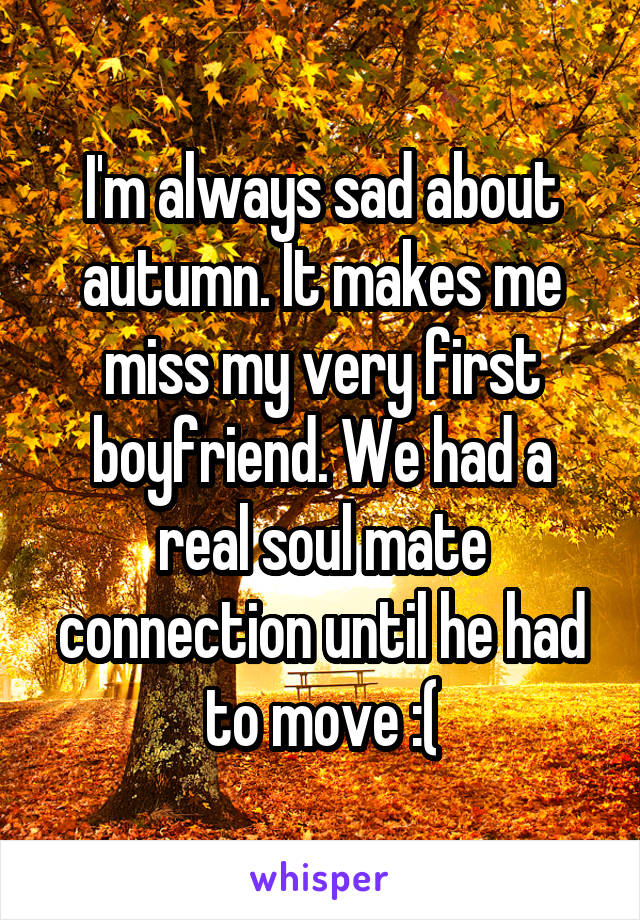 I'm always sad about autumn. It makes me miss my very first boyfriend. We had a real soul mate connection until he had to move :(