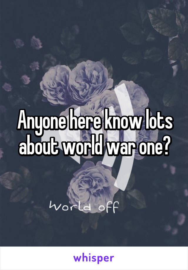 Anyone here know lots about world war one?