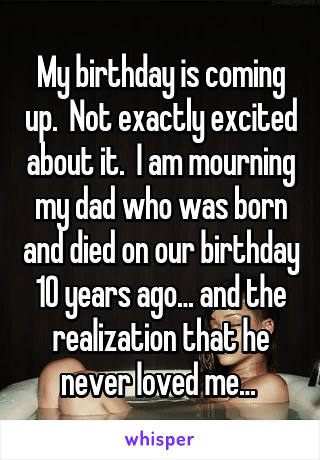 My birthday is coming up.  Not exactly excited about it.  I am mourning my dad who was born and died on our birthday 10 years ago... and the realization that he never loved me...