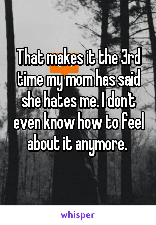 That makes it the 3rd time my mom has said she hates me. I don't even know how to feel about it anymore.