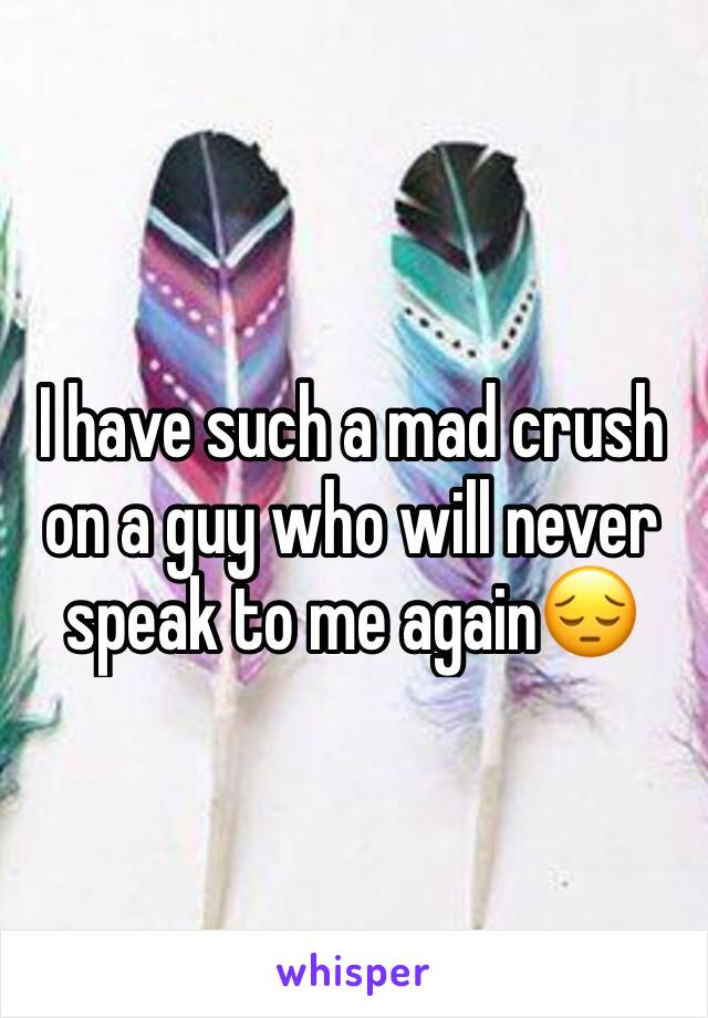 I have such a mad crush on a guy who will never speak to me again😔