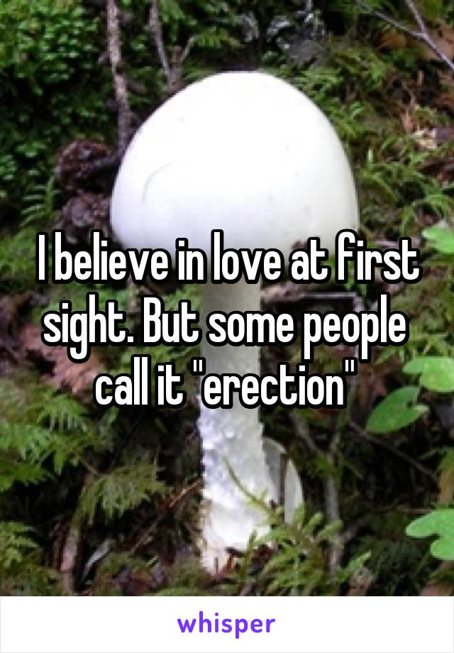 """I believe in love at first sight. But some people  call it """"erection"""""""