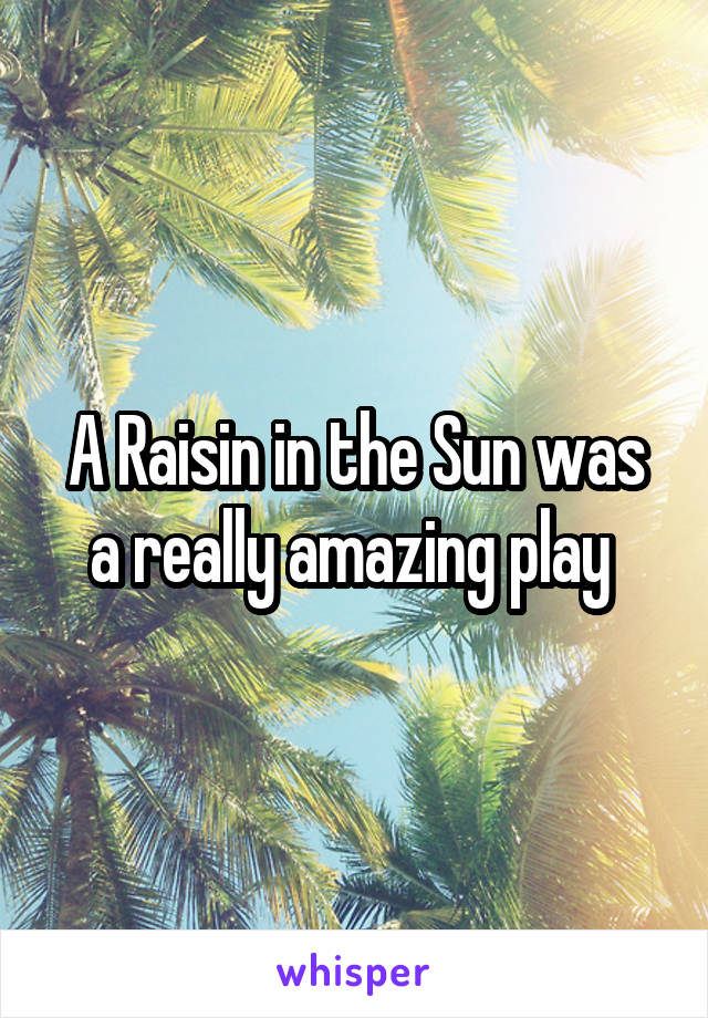 A Raisin in the Sun was a really amazing play