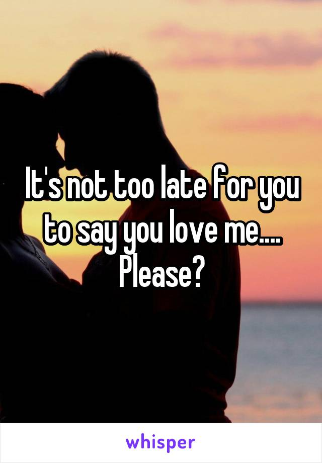 It's not too late for you to say you love me.... Please?
