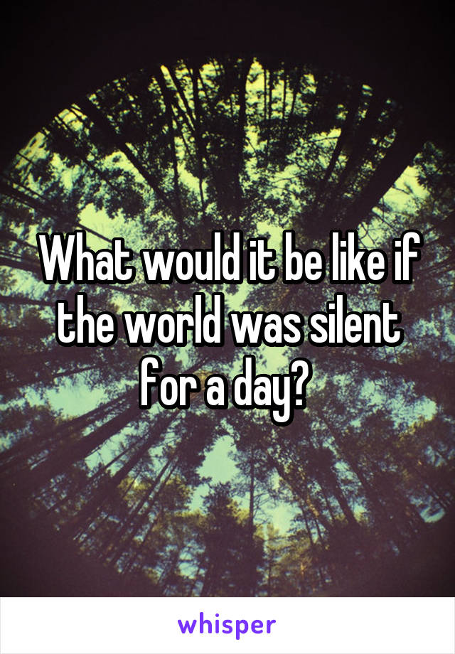 What would it be like if the world was silent for a day?