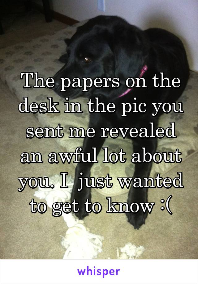 The papers on the desk in the pic you sent me revealed an awful lot about you. I  just wanted to get to know :(