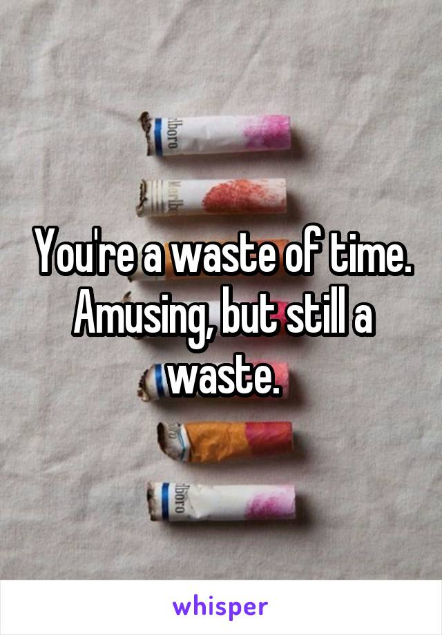You're a waste of time. Amusing, but still a waste.