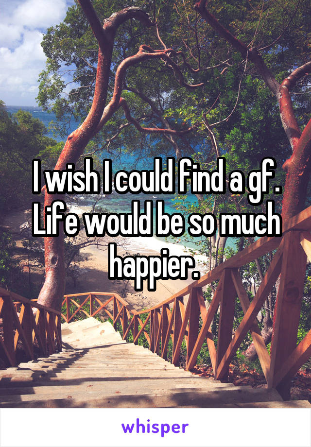 I wish I could find a gf. Life would be so much happier.