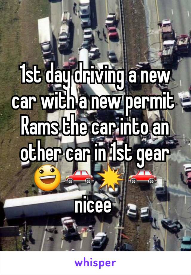 1st day driving a new car with a new permit  Rams the car into an other car in 1st gear 😃🚗💥🚗 nicee