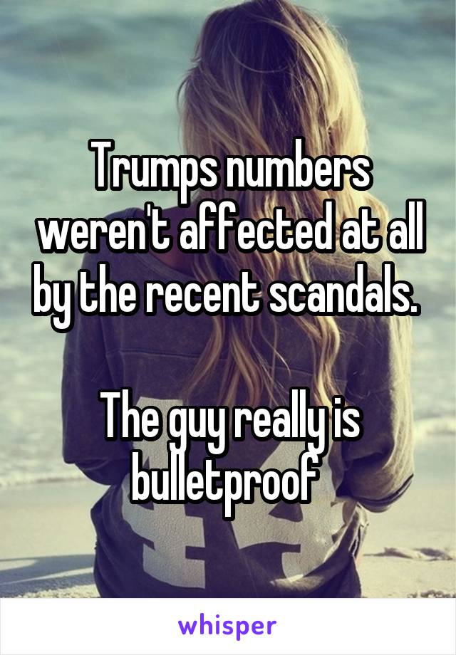 Trumps numbers weren't affected at all by the recent scandals.   The guy really is bulletproof
