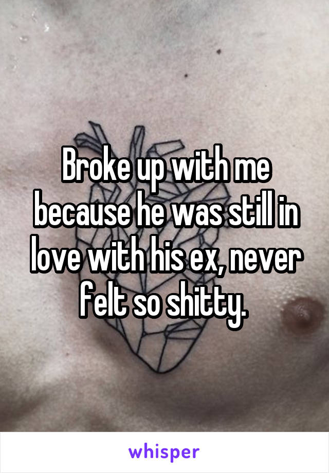 Broke up with me because he was still in love with his ex, never felt so shitty.
