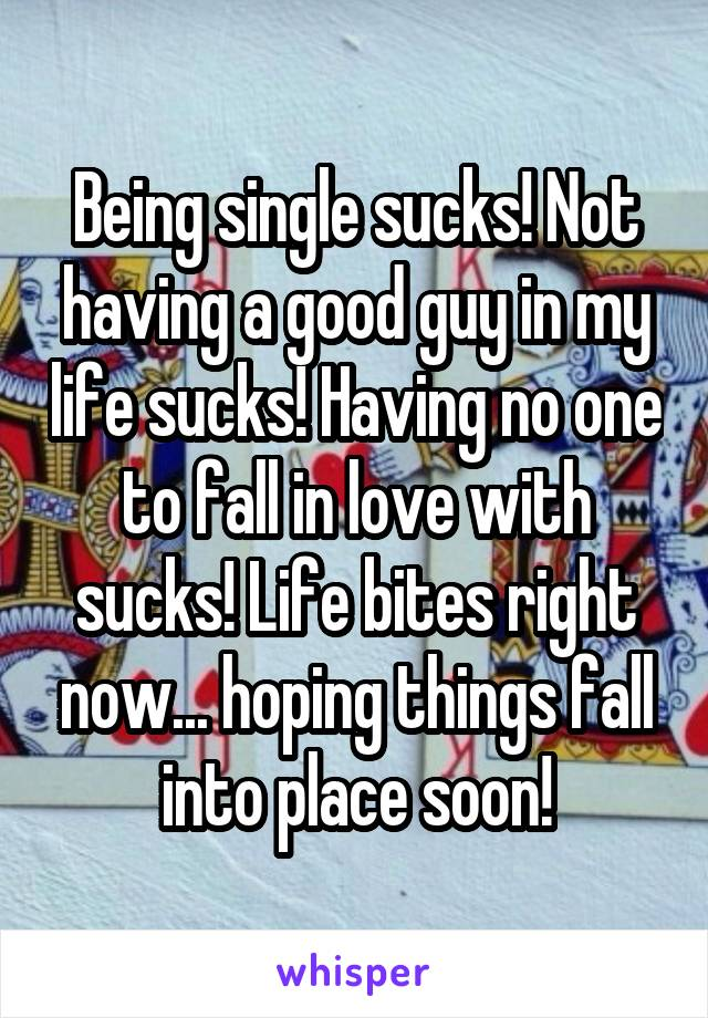 Being single sucks! Not having a good guy in my life sucks! Having no one to fall in love with sucks! Life bites right now... hoping things fall into place soon!