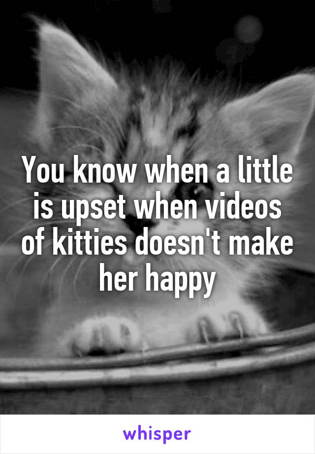 You know when a little is upset when videos of kitties doesn't make her happy
