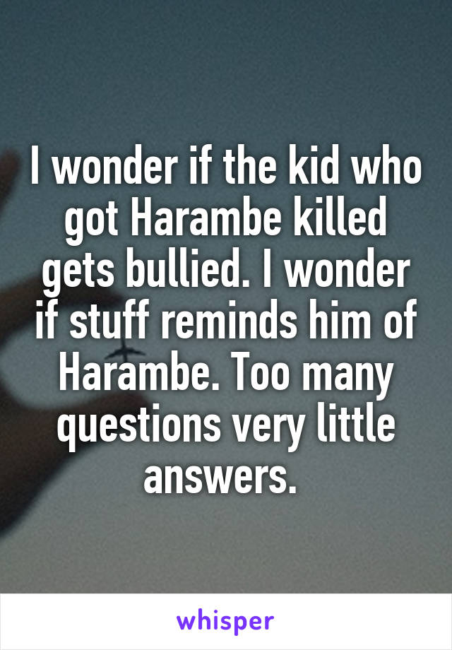 I wonder if the kid who got Harambe killed gets bullied. I wonder if stuff reminds him of Harambe. Too many questions very little answers.