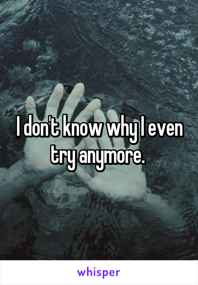 I don't know why I even try anymore.