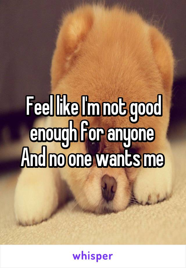 Feel like I'm not good enough for anyone  And no one wants me