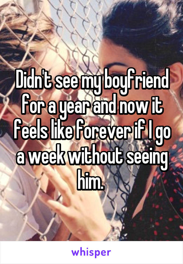 Didn't see my boyfriend for a year and now it feels like forever if I go a week without seeing him.