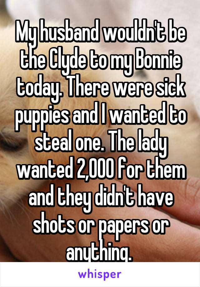 My husband wouldn't be the Clyde to my Bonnie today. There were sick puppies and I wanted to steal one. The lady wanted 2,000 for them and they didn't have shots or papers or anything.