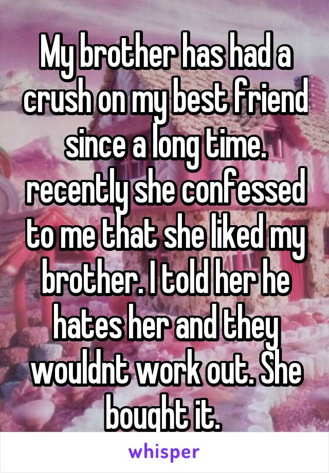 My brother has had a crush on my best friend since a long time. recently she confessed to me that she liked my brother. I told her he hates her and they wouldnt work out. She bought it.