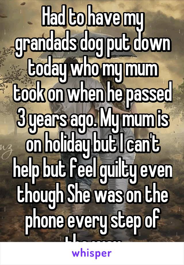 Had to have my grandads dog put down today who my mum took on when he passed 3 years ago. My mum is on holiday but I can't help but feel guilty even though She was on the phone every step of the way