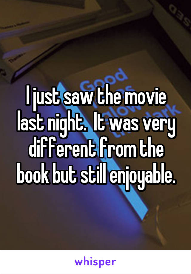 I just saw the movie last night.  It was very different from the book but still enjoyable.