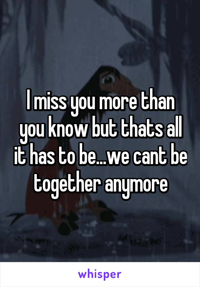 I miss you more than you know but thats all it has to be...we cant be together anymore