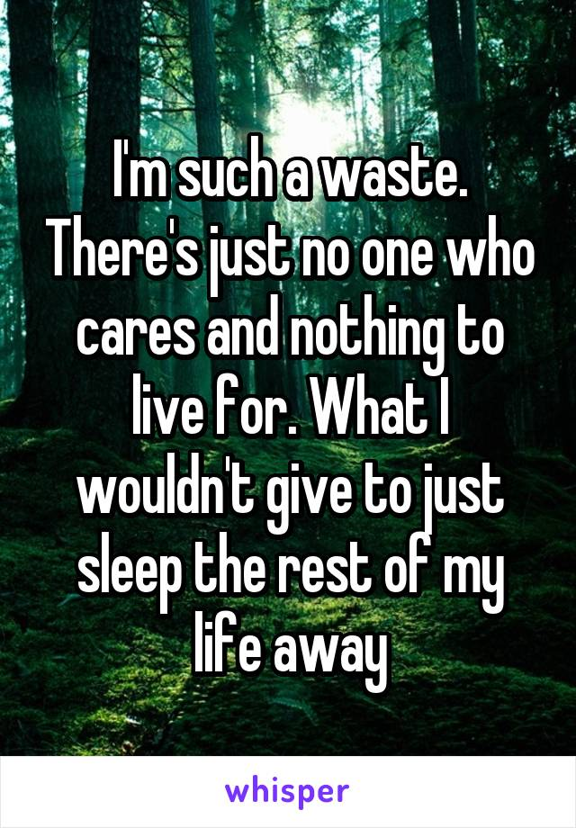 I'm such a waste. There's just no one who cares and nothing to live for. What I wouldn't give to just sleep the rest of my life away