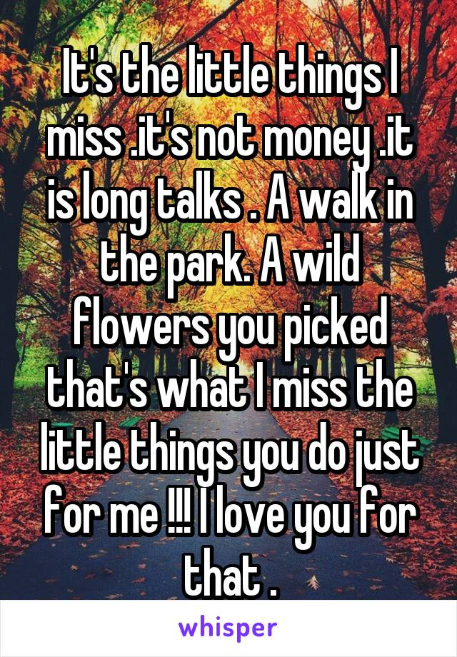 It's the little things I miss .it's not money .it is long talks . A walk in the park. A wild flowers you picked that's what I miss the little things you do just for me !!! I love you for that .