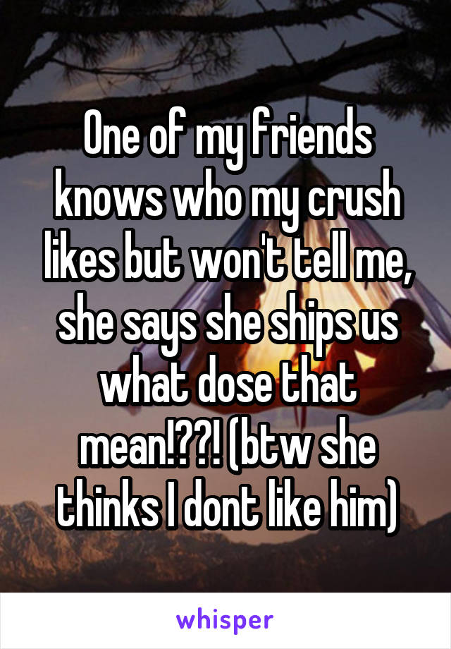 One of my friends knows who my crush likes but won't tell me, she says she ships us what dose that mean!??! (btw she thinks I dont like him)