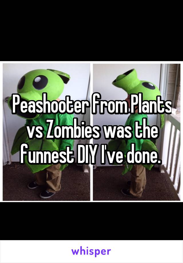 Peashooter from Plants vs Zombies was the funnest DIY I've done.