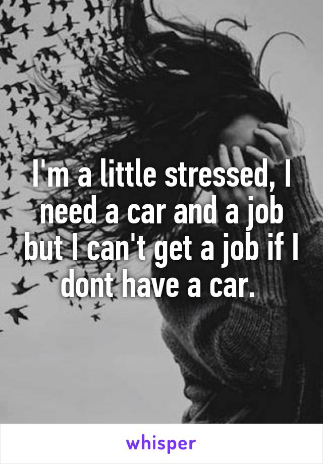 I'm a little stressed, I need a car and a job but I can't get a job if I dont have a car.