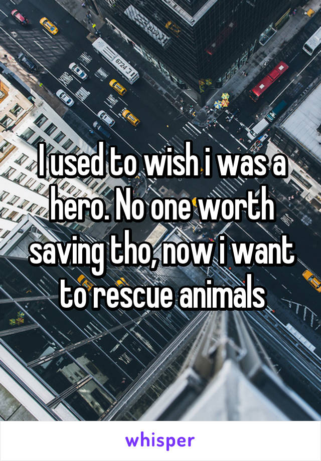 I used to wish i was a hero. No one worth saving tho, now i want to rescue animals