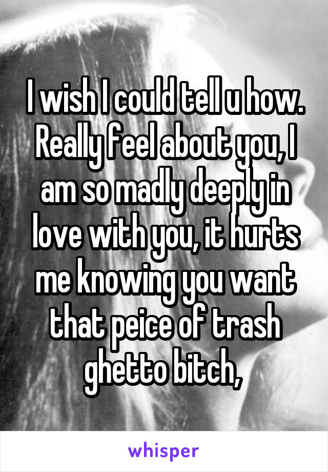 I wish I could tell u how. Really feel about you, I am so madly deeply in love with you, it hurts me knowing you want that peice of trash ghetto bitch,