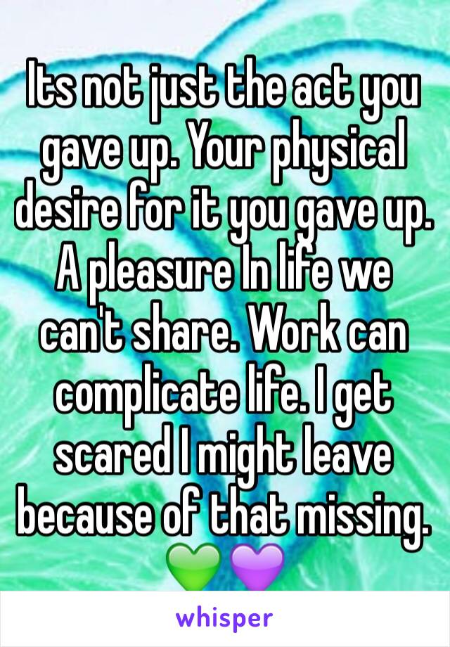 Its not just the act you gave up. Your physical desire for it you gave up. A pleasure In life we can't share. Work can complicate life. I get scared I might leave because of that missing. 💚💜