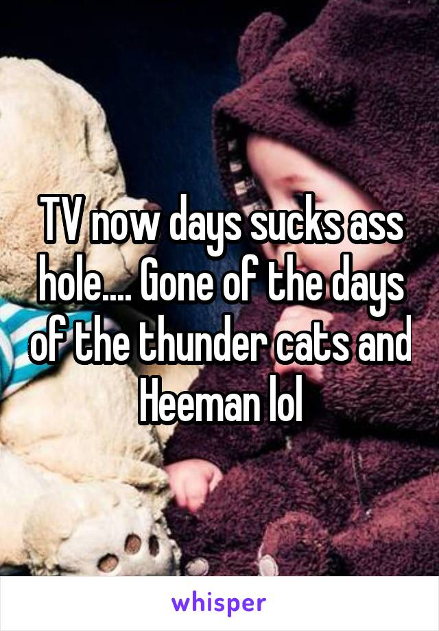 TV now days sucks ass hole.... Gone of the days of the thunder cats and Heeman lol