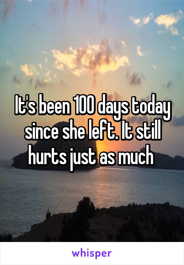 It's been 100 days today since she left. It still hurts just as much