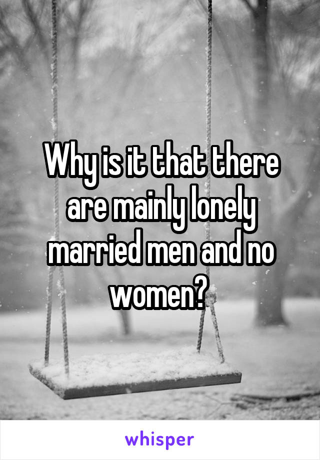 Why is it that there are mainly lonely married men and no women?