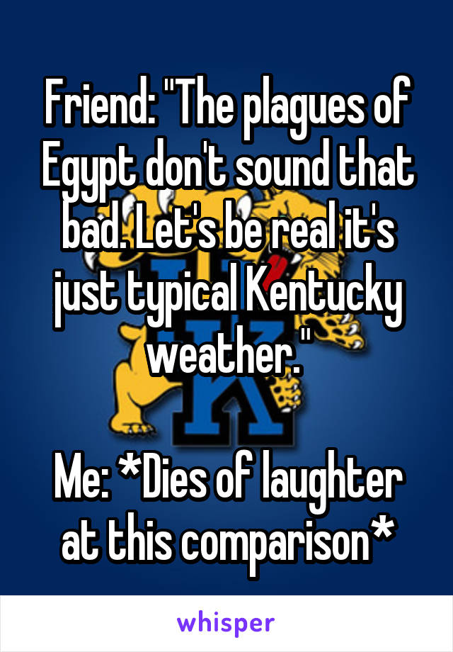 """Friend: """"The plagues of Egypt don't sound that bad. Let's be real it's just typical Kentucky weather.""""  Me: *Dies of laughter at this comparison*"""