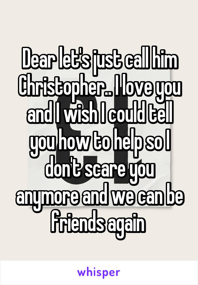 Dear let's just call him Christopher.. I love you and I wish I could tell you how to help so I don't scare you anymore and we can be friends again