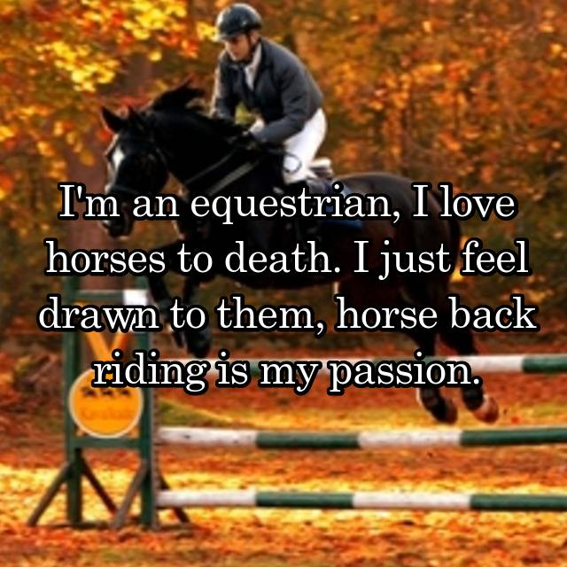 I'm an equestrian, I love horses to death. I just feel drawn to them, horse back riding is my passion.