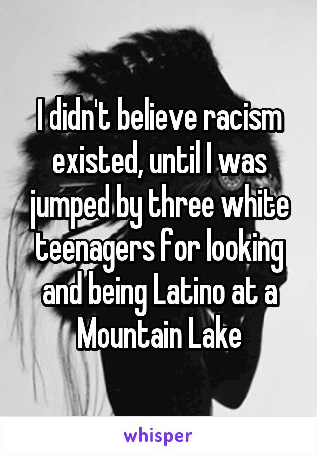 I didn't believe racism existed, until I was jumped by three white teenagers for looking and being Latino at a Mountain Lake