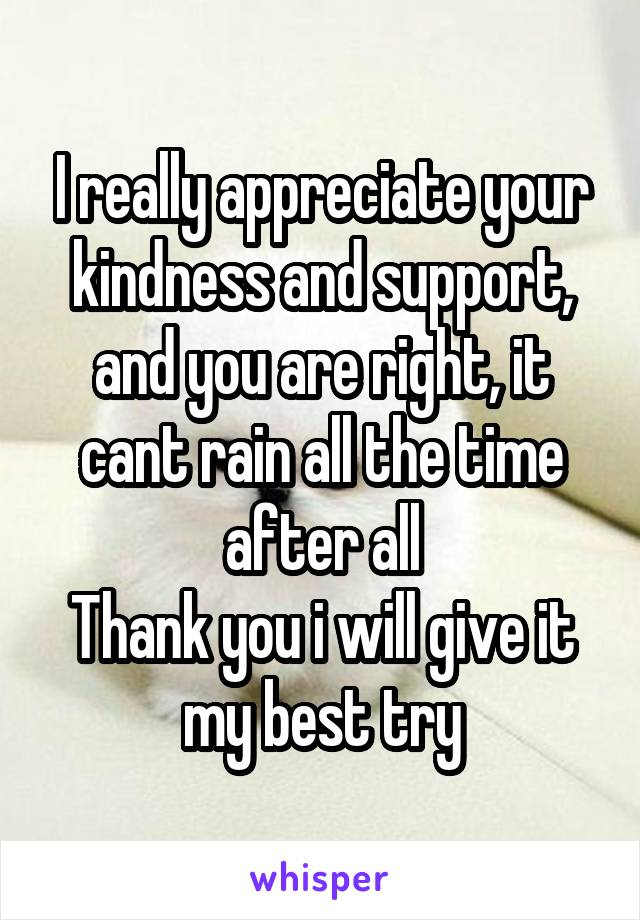 i really appreciate your kindness and support and you are right it