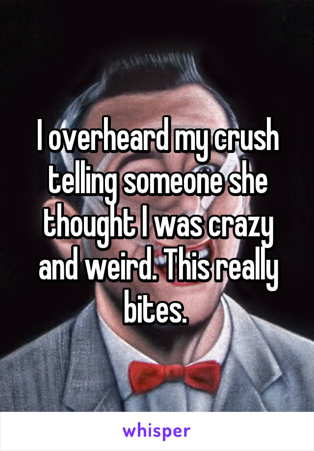 I overheard my crush telling someone she thought I was crazy and weird. This really bites.