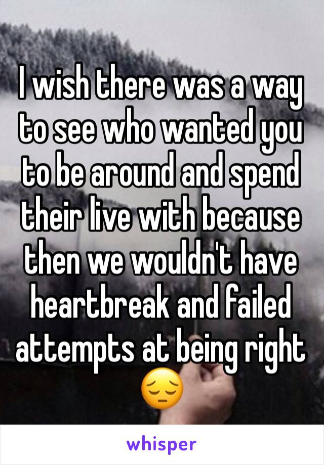 I wish there was a way to see who wanted you to be around and spend their live with because then we wouldn't have heartbreak and failed attempts at being right 😔