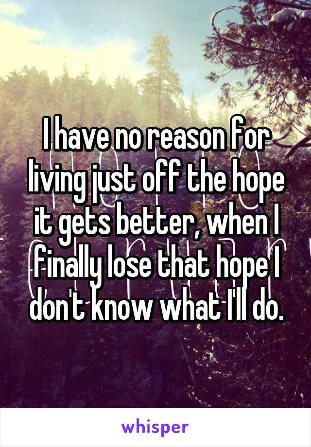 I have no reason for living just off the hope it gets better, when I finally lose that hope I don't know what I'll do.
