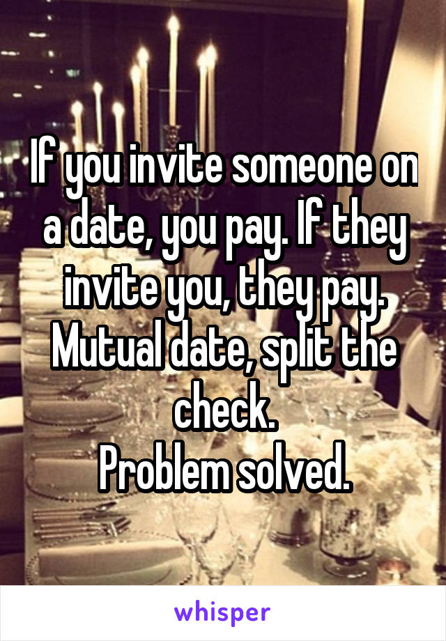 If you invite someone on a date, you pay. If they invite you, they pay. Mutual date, split the check. Problem solved.