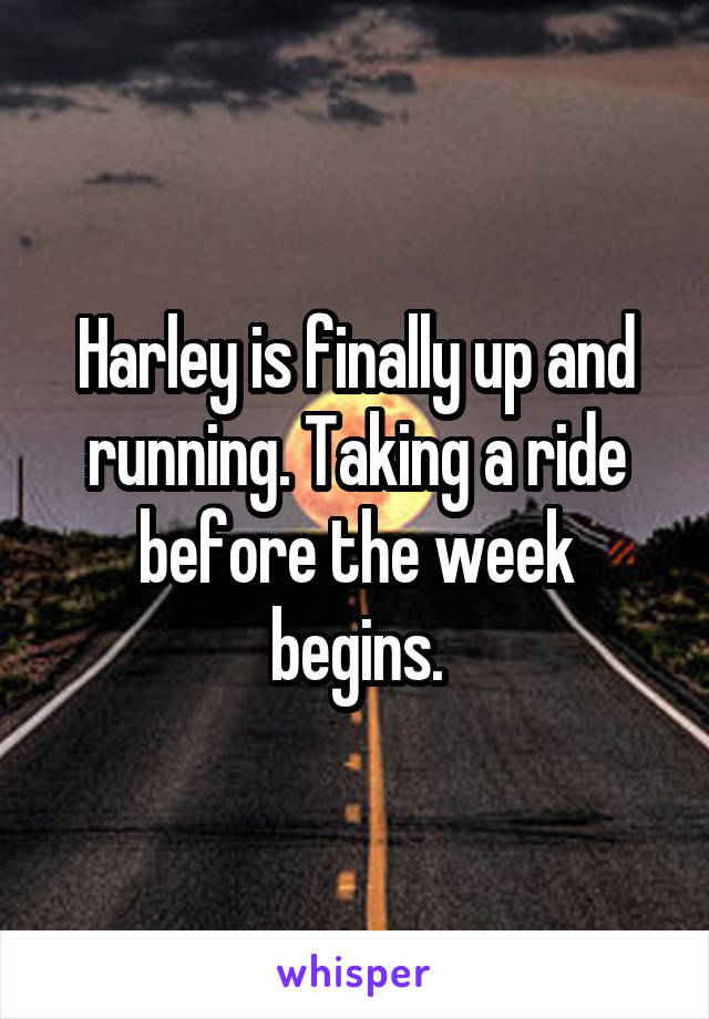 Harley is finally up and running. Taking a ride before the week begins.